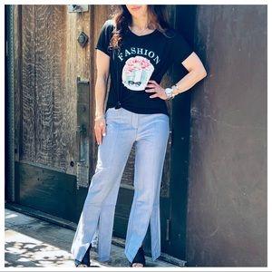 Chic Front Slit striped side pockets pants